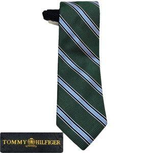 Tommy Hilfiger Green Blue Striped Necktie
